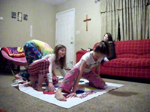 Little girls playing twister does not