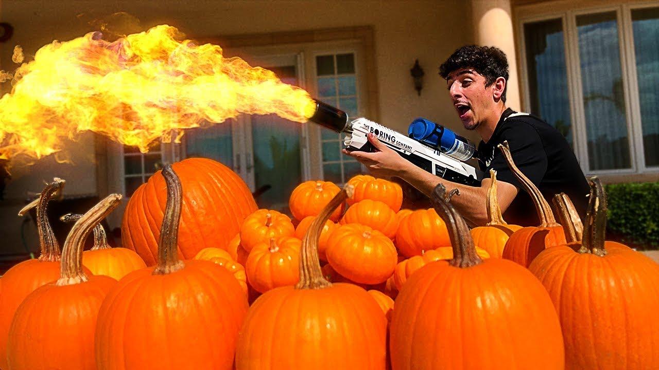REAL LIFE FLAMETHROWER VS PUMPKINS!