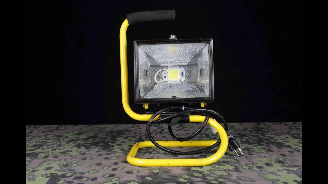 DIY halogen work light LED conversion - YouTube