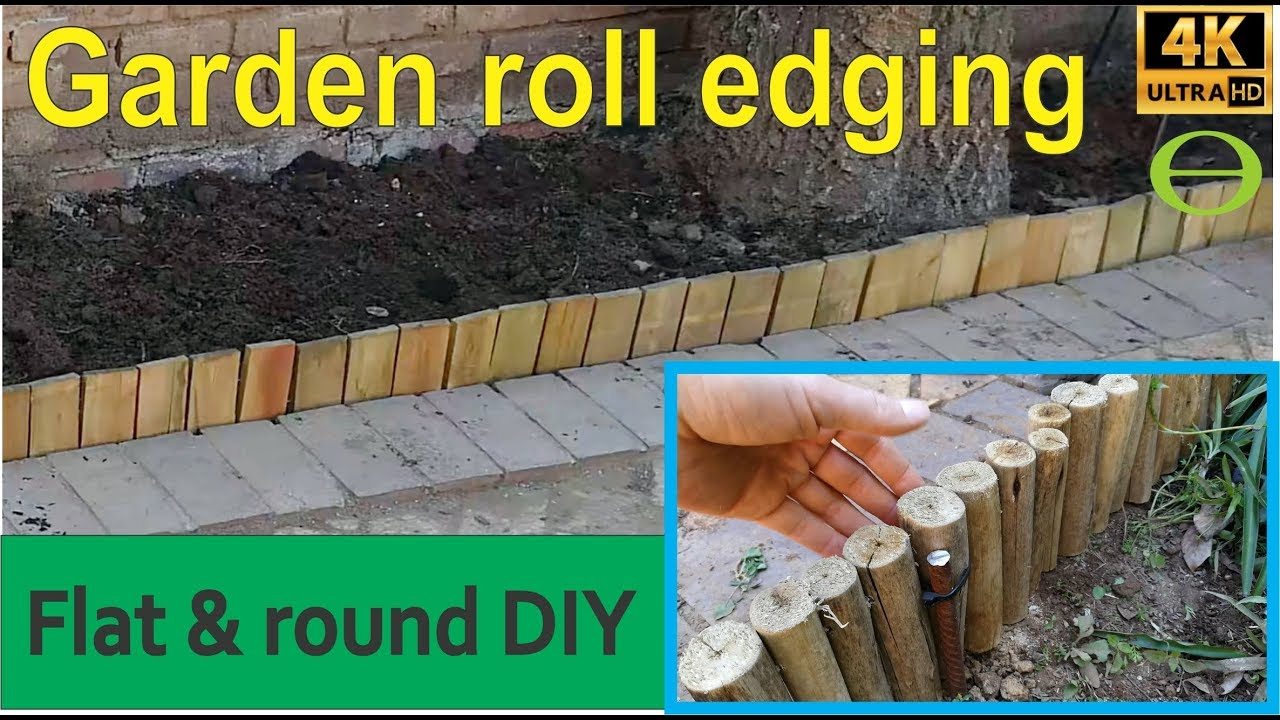 How to install flat garden roll boundary edging - flat and round log roll  shown