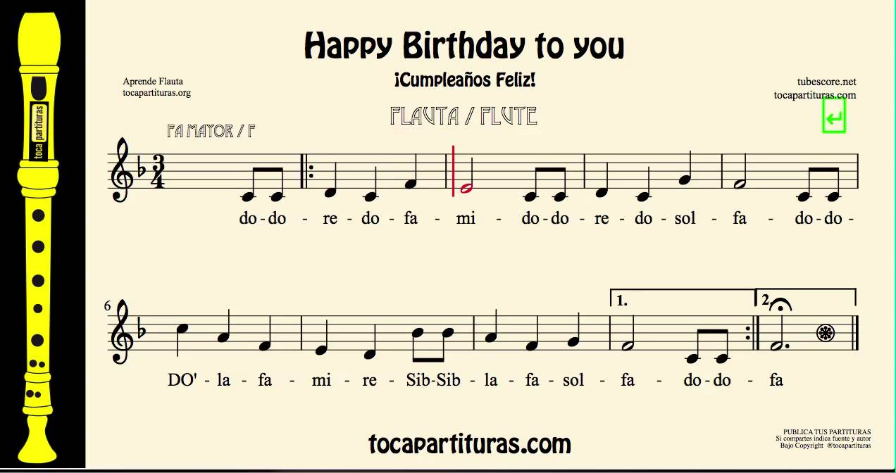 Happy Birthday To You Easy Sheet Music For Flute With Notes In F Major Youtube