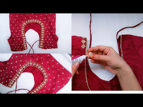How To Make Designer Blouse At Home Stone Work Blouse Design Youtube