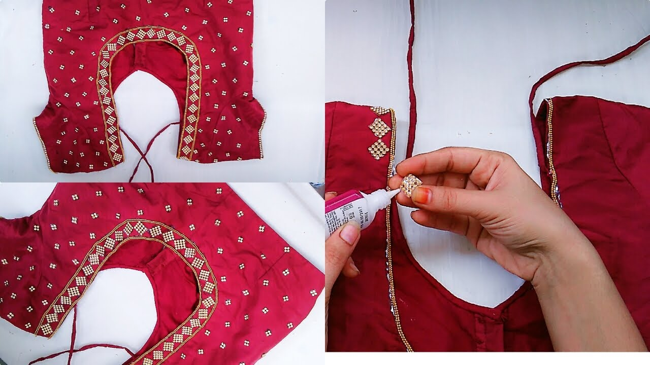 How To Make Designer Blouse At Home||Stone work Blouse Design ...