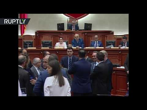 Albanian PM pelted with flour during parliamentary session
