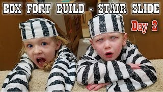 Turning Our House Into a Giant Box Fort - DAY 2 How to Build a Stair Slide!!