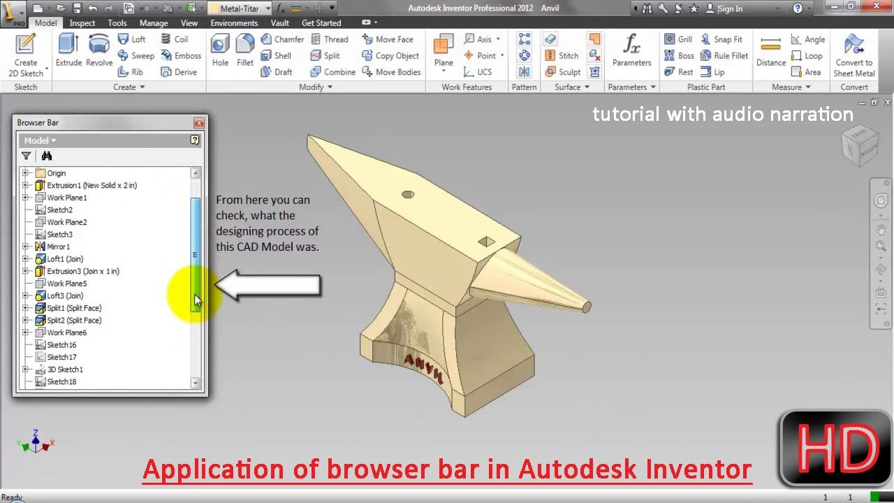 Application Of Browser Bar In Autodesk Inventor Video