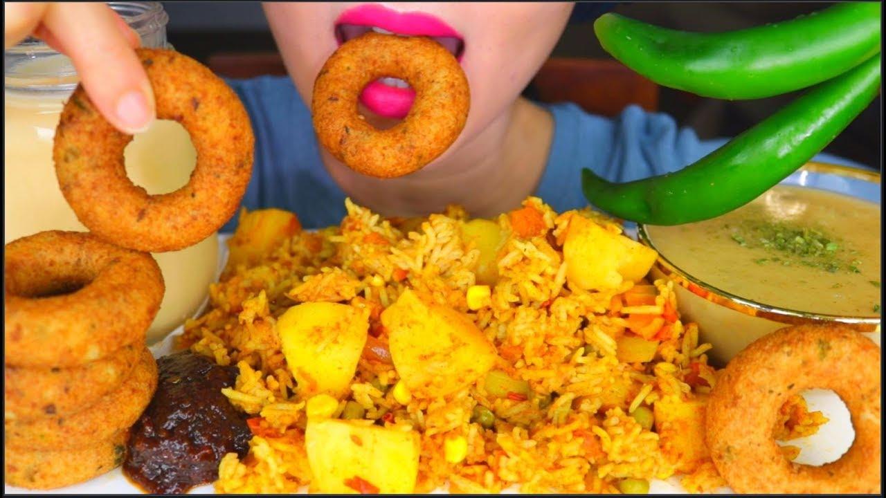 ASMR SPICY POTATO PULAO (POTATO RICE), VADA, CREAMY POTATO SOUP, BANANA MILK EATING SOUNDS 咀嚼音 먹방