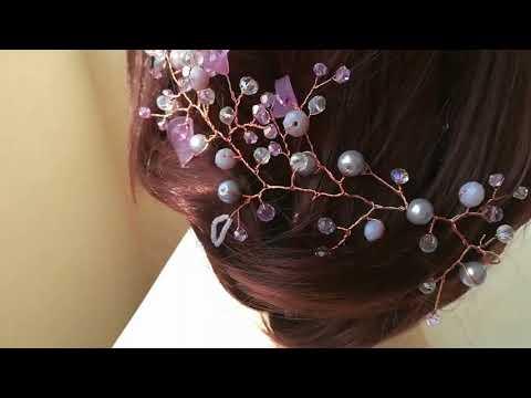 Handmade булчинска украса за коса в розово - Lilac by Rosie