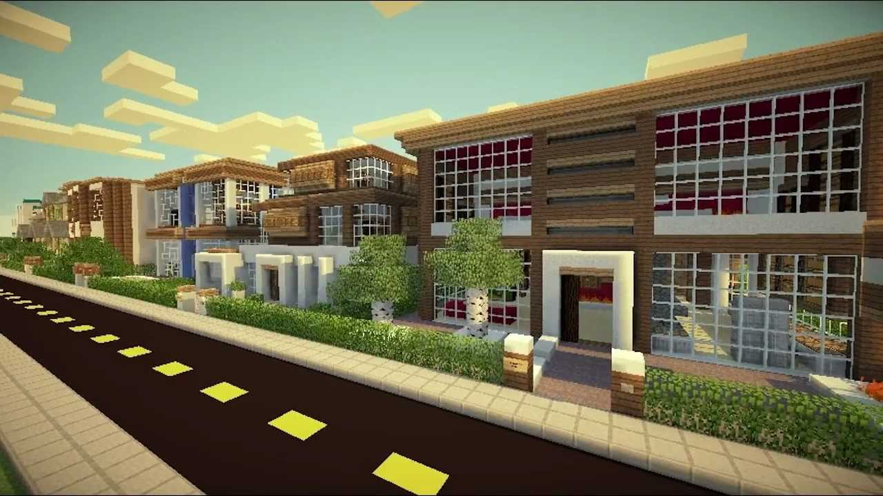 Minecraft the big city themed houses house of fire for Minecraft big modern house tour