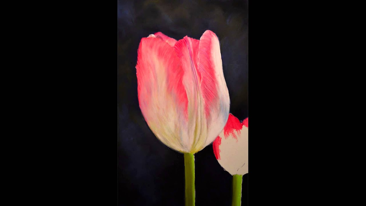 Painting Quot Pink Tulip Quot In Soft Pastel Photo Montage Youtube