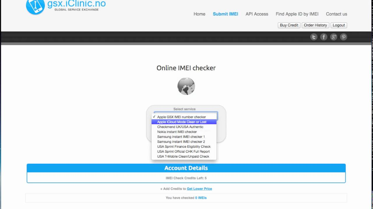 Online Apple iCloud Mode checker by IMEI (Clean/Lost/Stolen)