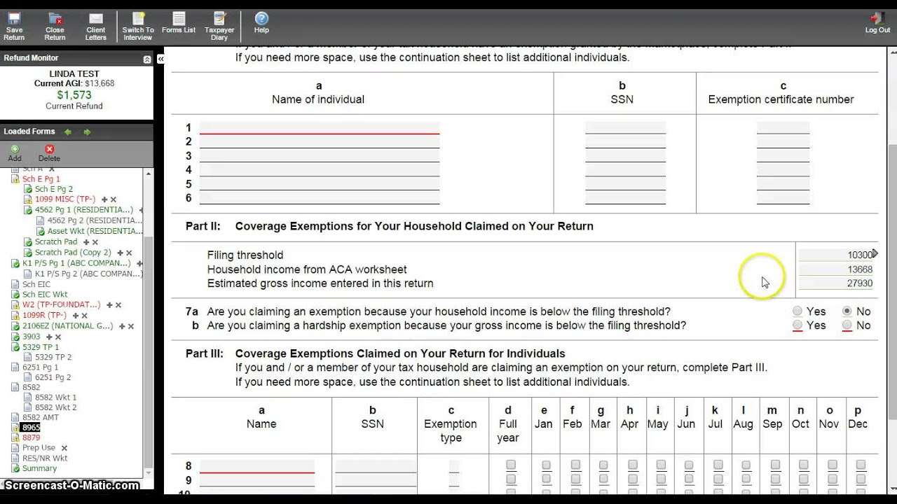 Filling out the ACA Wksht and Form 8965 YouTube – Exemption Worksheet