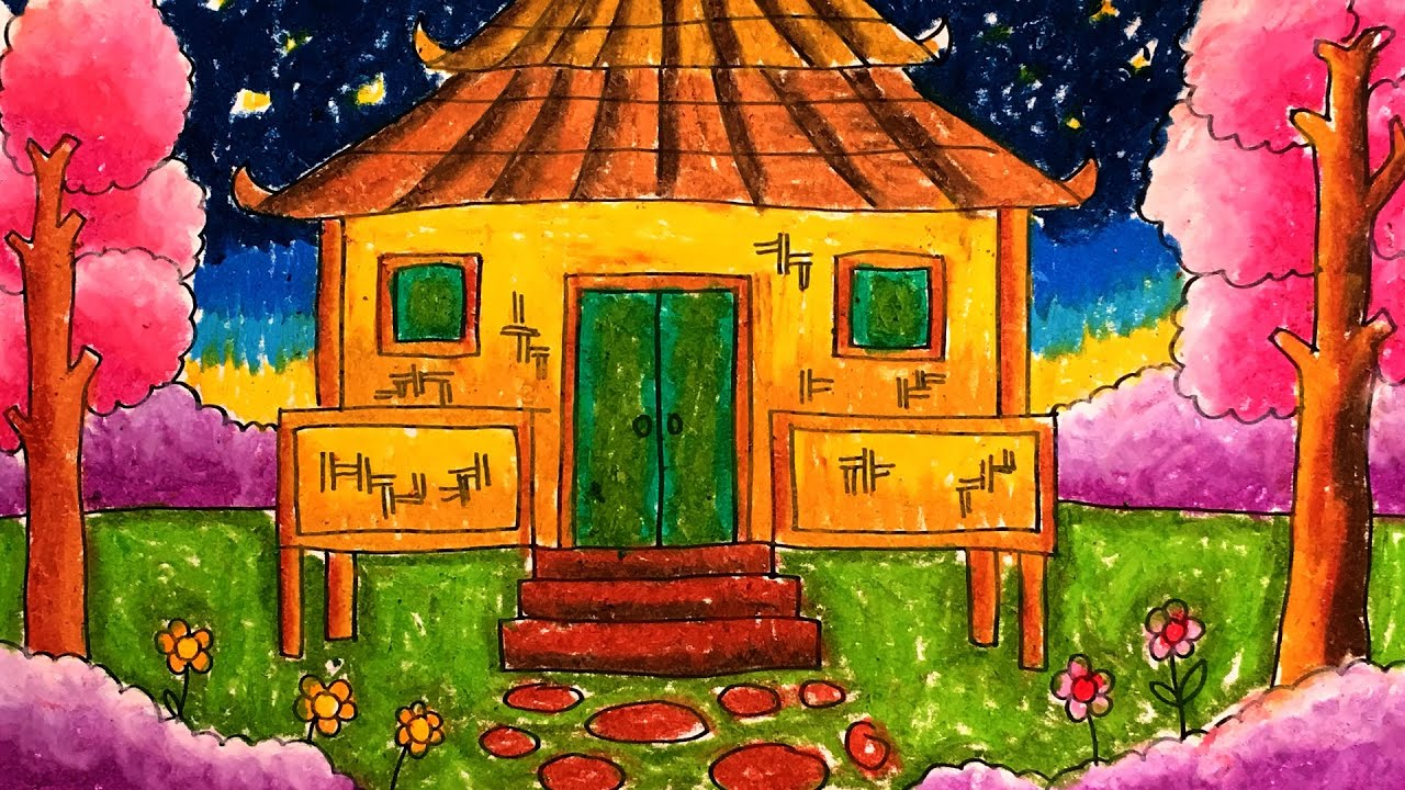 Cara Menggambar Rumah Tradisional Joglo Surau Asli Indonesia
