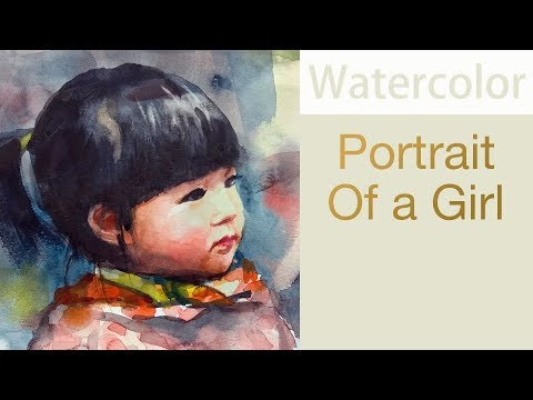 Portrait #43 - Watercolor painting of a young girl