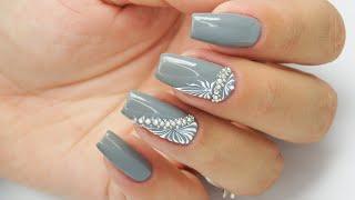 Grey ornaments / Rhinestones / Bluesky #ornamentsnails