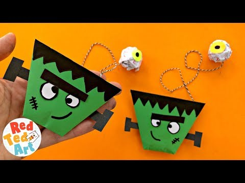 EASY TOY FRANKENSTEIN Origami Cup & Ball Game - Paper Halloween Crafts