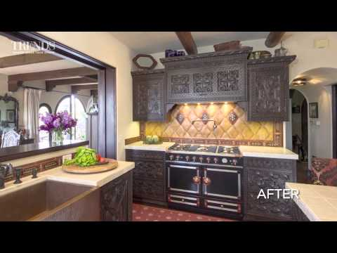 Kitchen remodel incorporating antique 19th-century bedroom furniture from Sicily