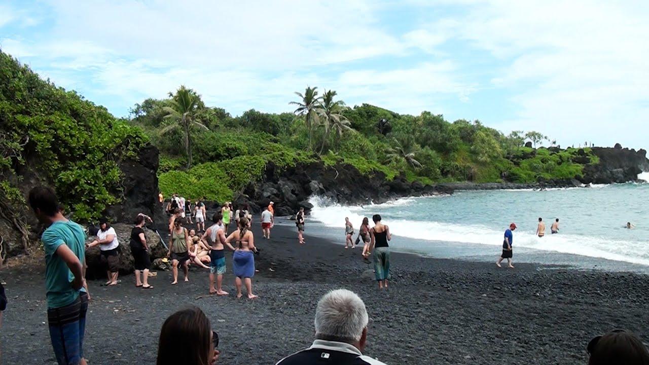 Honokalani Black Sand Beach And Lava Maui