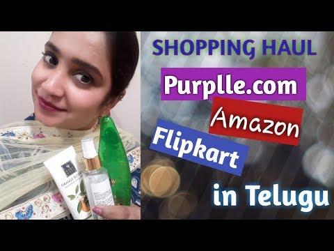 shopping-haul-in-telugu-ii-purplle-com,-amazon-&-flipkart