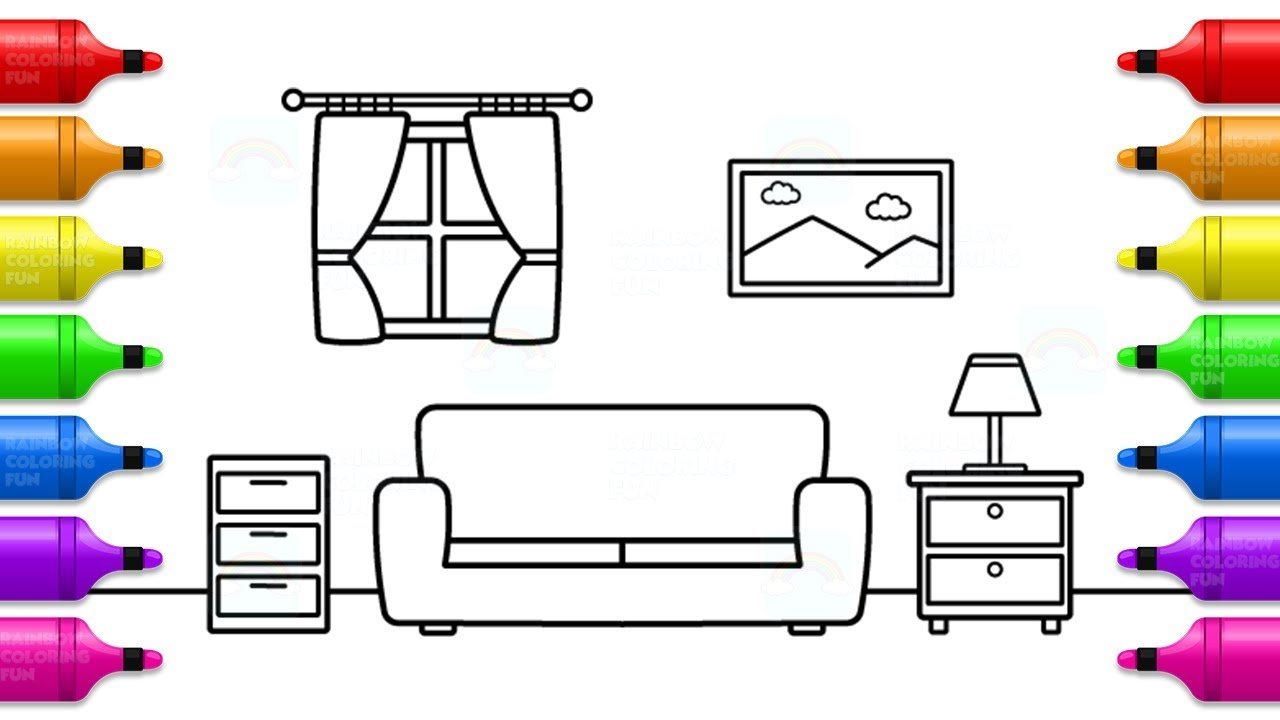How to Draw & Paint Living Room - Fun Coloring Pages for ...