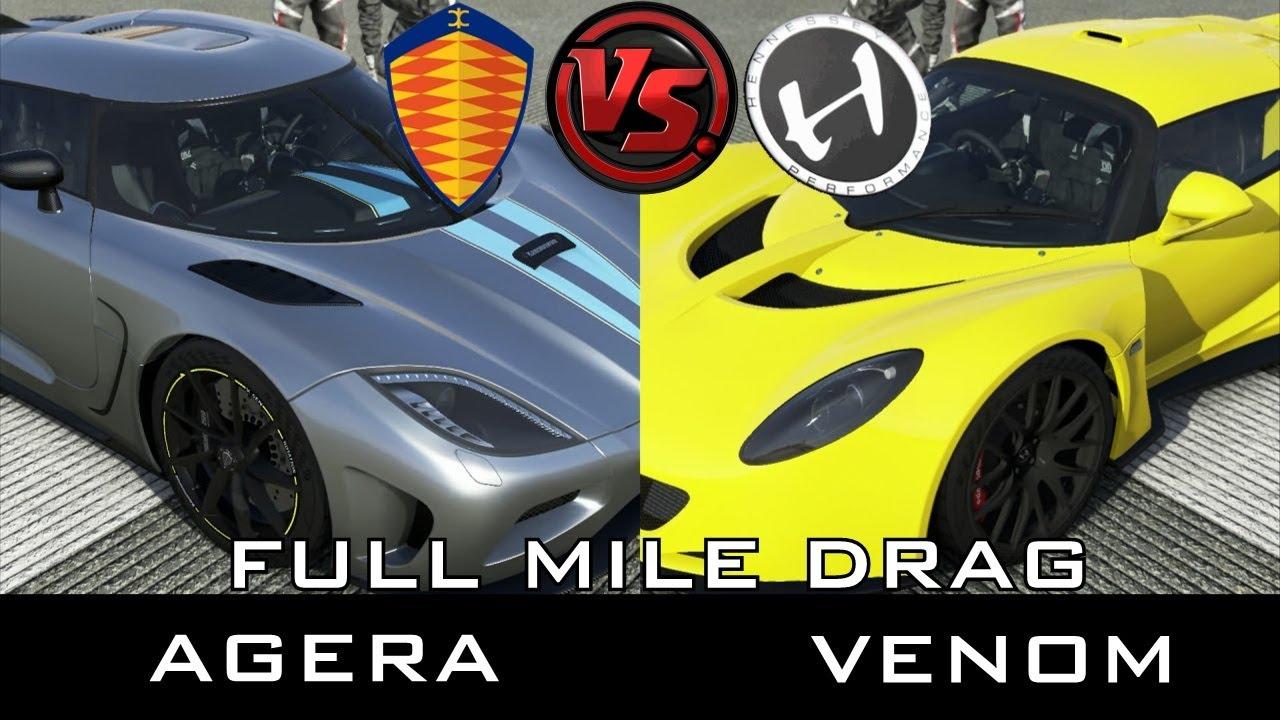 Forza 5 Full Mile Drag Hennessey Venom Vs Koenigsegg