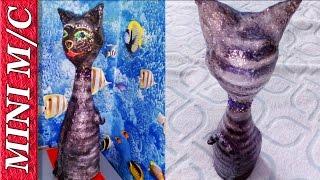 Черный Кот из бутылки от Шампанского и Папье Маше МИНИ МАСТЕР КЛАСС