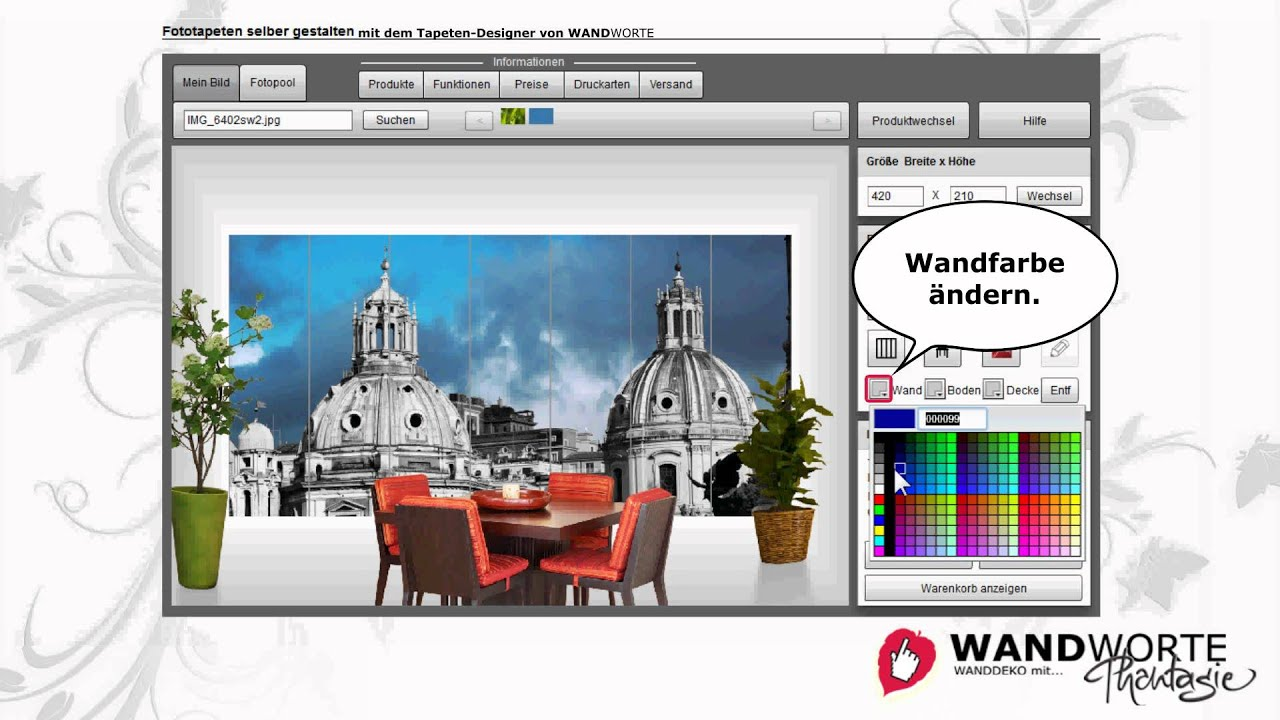 fototapete selbst gestalten im online-designer von wandworte - youtube