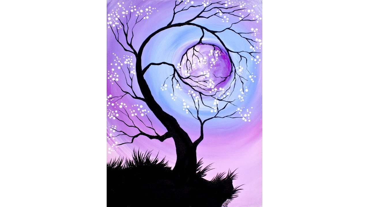 Cherry Tree Holding The Moon Step By Step Acrylic Painting