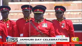 Full 17 Battalion Kenya Rifles trooping the colour at 55th Jamhuri Celebrations