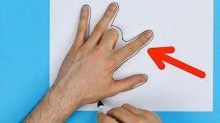 Er krümmt den Mittelfinger und zeichnet seine Hand ab. Das ist so einfach wie genial.