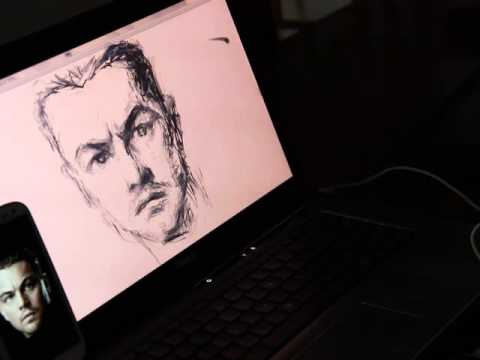 leap motion corel painter ,drawing Leonardo DiCaprio