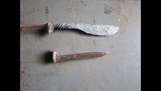 Кованый нож из ЖД костыля