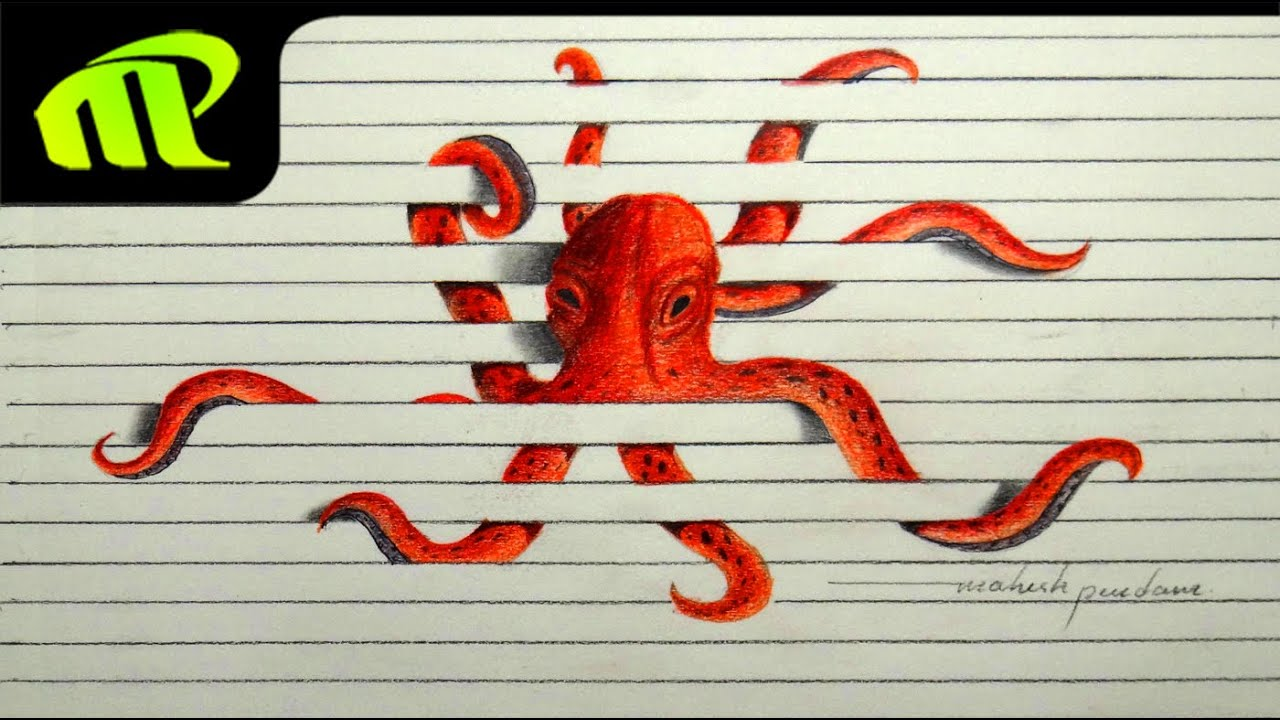 3D Paper Illusion Octopus Drawing Time Lapse Trick Art YouTube