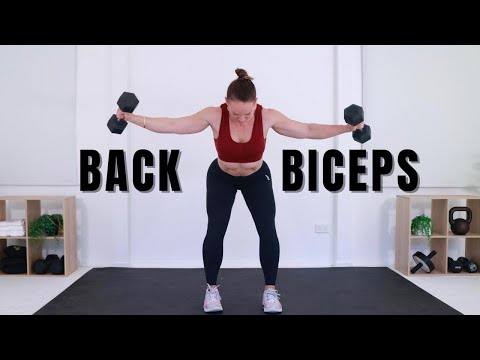 STRENGTH SERIES DAY 3 - BACK & BICEPS WORKOUT AT HOME WITH DUMBBELLS 🔥Burn 290 Calories🔥