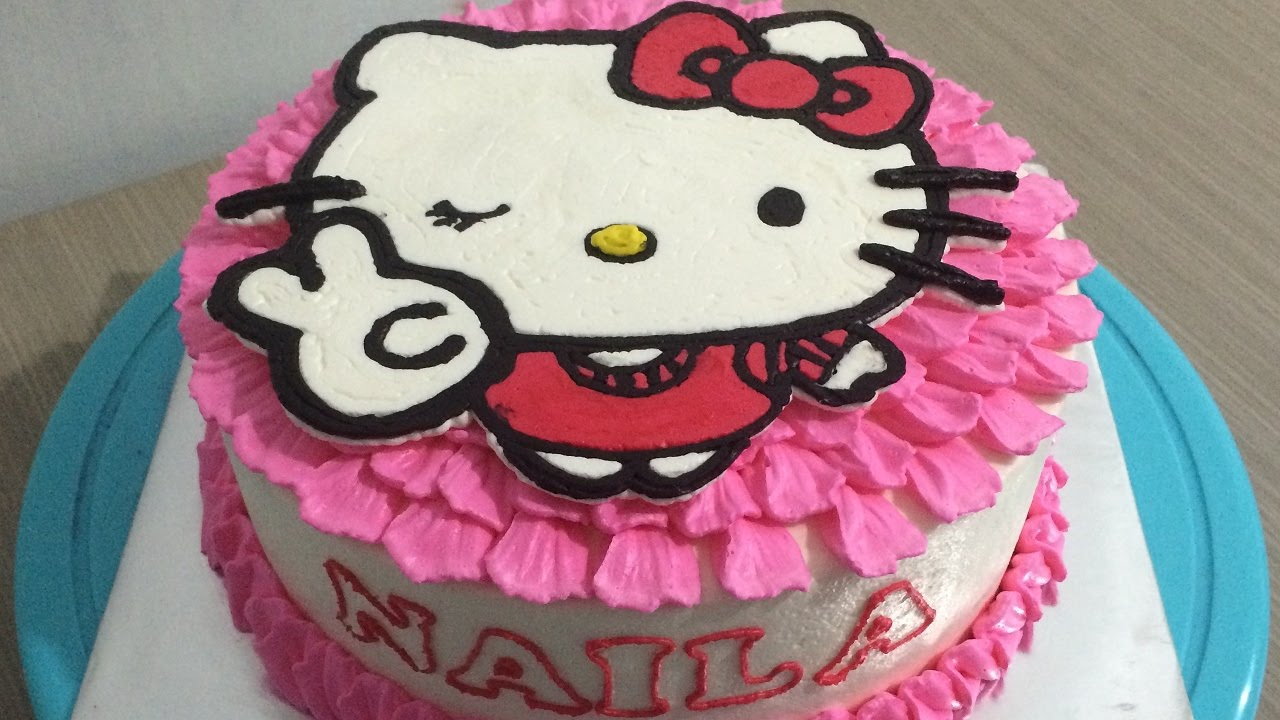 Hello Kitty Peace Cake Buttercream Transfer Youtube