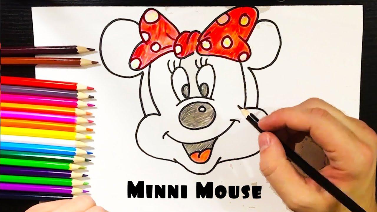 Cómo DIBUJAR Y COLOREAR Minnie Mouse de Arco Iris Colores Para Niños ...