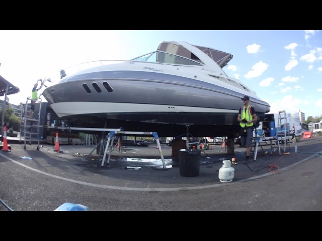 Vinyl Hull Boat Wrap - Cruisers 330 in 3M Sterling Silver