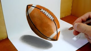 3D Trick Art on Paper, American Football Ball