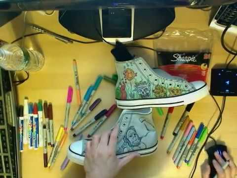 09439edd51e2 Line 1  Original art drawn with Sharpies on Converse All Star High Tops