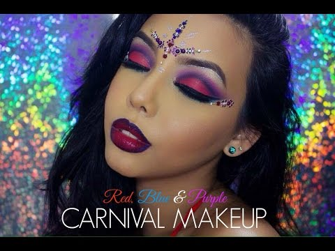 Carnival Makeup Red Blue Amp Purple Eyes Chanelle
