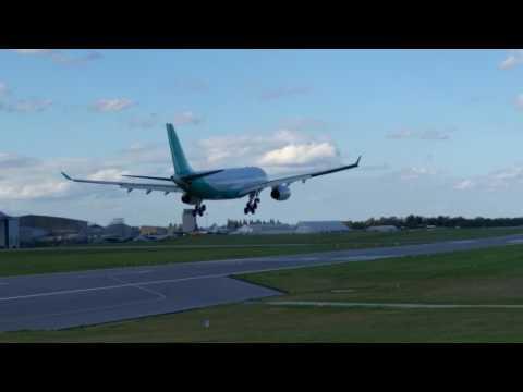 Hi fly A330 lands at Cambridge Airport 17/04/17