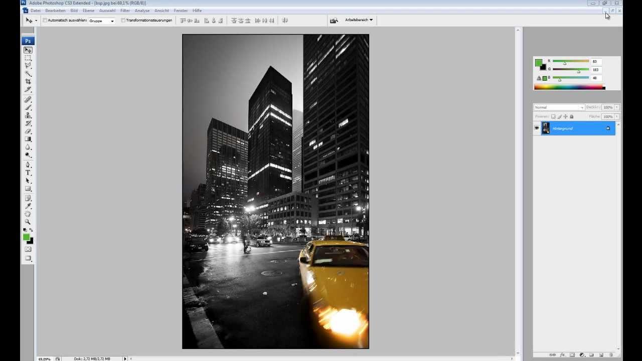 Photoshop Grundlagen Schwarz Weiß Bild Mit Farbe