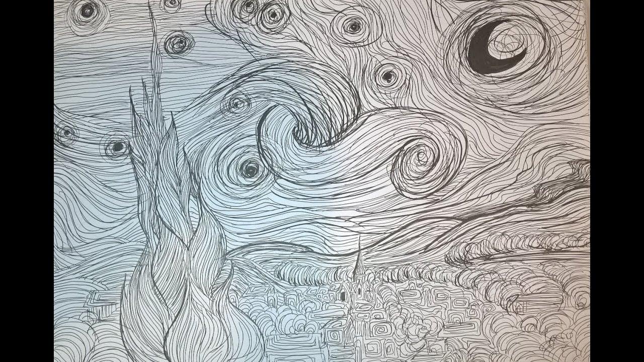 Vincent van Gogh-La noche estrellada (De sterrennacht) Dibujo - YouTube