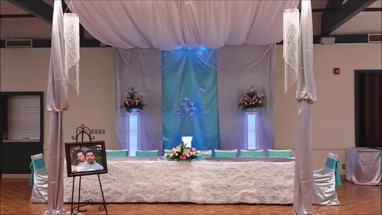 Faos events decoracion color aqua y plata youtube - Decoraciones en color plata ...