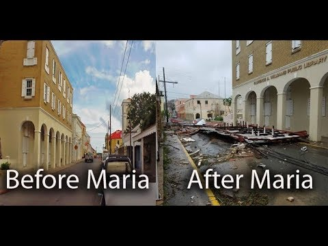 St. Croix , Christiansted , before and after hurricane Maria,  US Virgin Islands