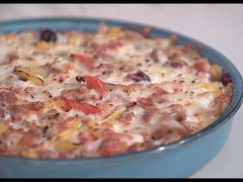 صورة  طريقة عمل البيتزا طريقه عمل بيتزا المكرونة بالفراخ | الشيف فاطمه ابو حاتي طريقة عمل البيتزا من يوتيوب