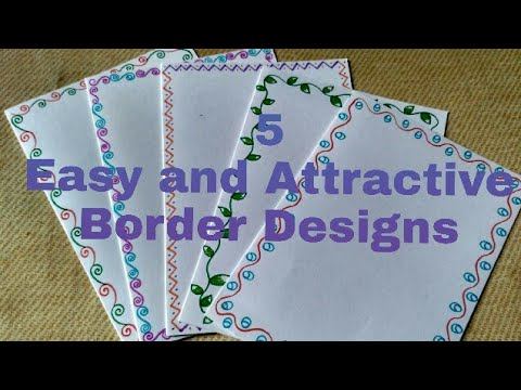 5 Easy and Attractive border designs for greeting cards DIY border
