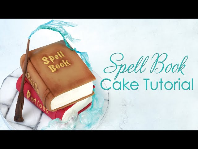 Magical Stacked Spell Book Cake Tutorial - for Witches and Wizards - with rice paper sails