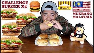 CHALLENGE BURGER X5 (MUKBANG MALAYSIA !!! )  EATING SOUNDS   EATING SHOW I ASMR