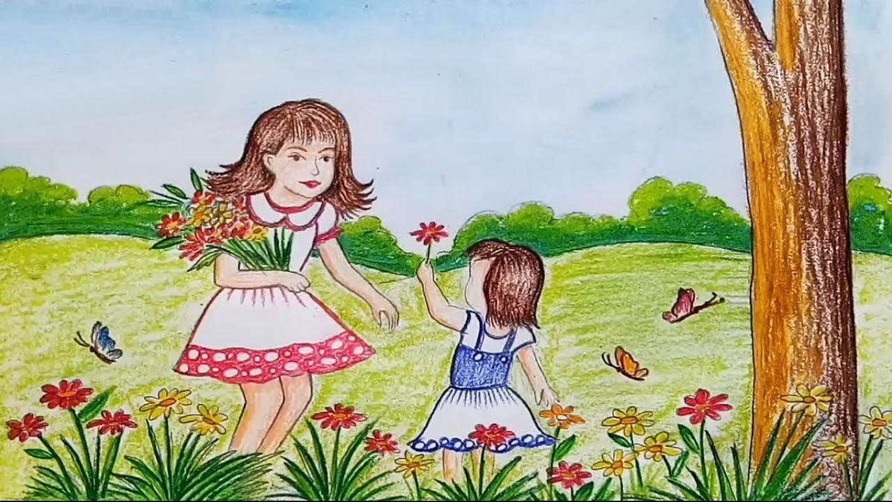 How To Draw Scenery Of Spring Season Flower Garden Step By Step